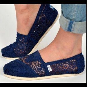 Toms Classic Alpargata Navy Blue Lace Crochet Shoe